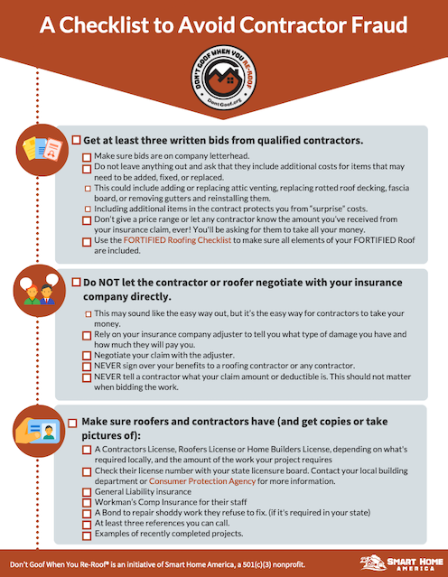 Avoid Contractor Fraud Checklist pdf